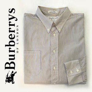Burberry Shirts - BURBERRY'S White Stripped Button Down Shirt sz 34